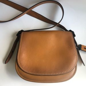 Genuine Coach Saddle Bag in Tan Leather